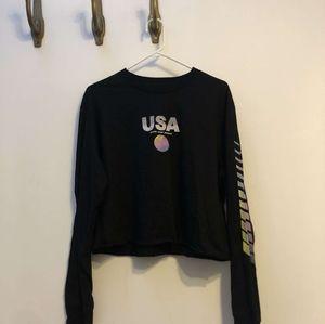Black USA Long-Sleeve Crop Top